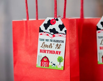 Farm Party Favor Tags -  Printable Farm Birthday Favor Tags - Barnyard Favor Tag - Barnyard Party Favor Tags - Farmer Favor Tags