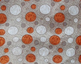 Dotted Chenille Upholstery Fabric in Orange and Beige with Dots