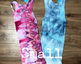 Adult mens womens small cotton ribbed undershirt tank top ice dyed tie S lot