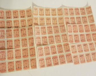 80 orange color gold bond savings trading stamps 10 pieces sheets of 8 scrapbook altered art Vintage paper supplies ephemera