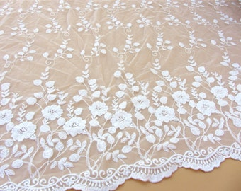 Ivory White Lace Fabric Vintage Style little flower Lace Tulle Embroidered Lace Bridal Lace Fabric Curtain Scarf Fabric
