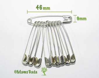 Set of 20 safety pins / safety 46 mm sewing Scrapbooking silver REF:5 / 43