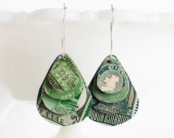 Teardrop earrings | Postage stamp | International | Green | Layered Hoops