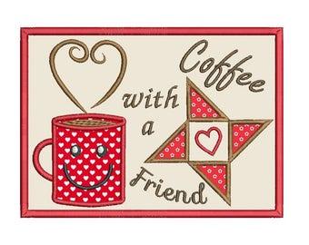 Mug Rug Applique Machine Embroidery Design, Coffee Mug Rug Machine Embroidery Design, Coffee Place Mat, Instant Download, No: SA570-1