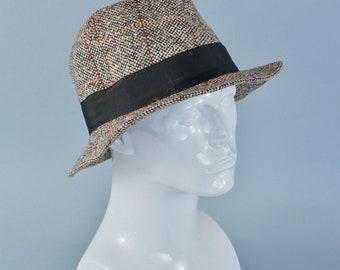 "Vintage Men's Brown Wool Blend Fedora Trilby Hat Mad Men Small 54cm 21"""