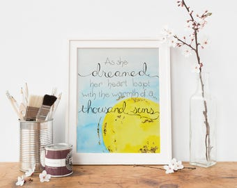 Watercolor Print: Encouragement, Follow those Dreams, Wall Art, Watercolor, Gold, Sun. Warmth of a Thousand Suns