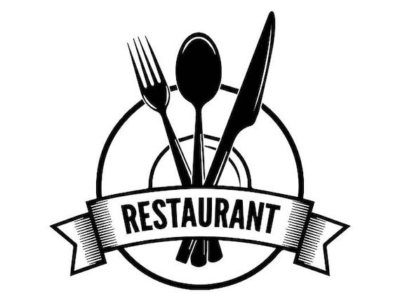Logo restaurant 2 couverts ustensiles plaque grill grillade for Ustensiles pour restaurant