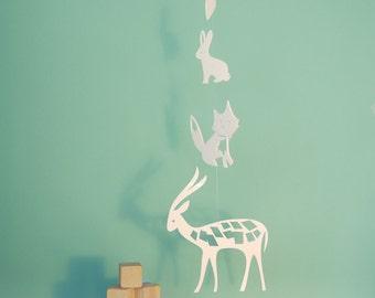 Woodland Mobile, Fox, Bunny, Deer, White Crib Mobile, Baby Mobile - Deer Fox Bunny Mobile
