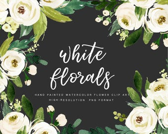 Watercolor floral Clip Art-White Flower/Individual PNG files/Hand Painted/Wedding design/Bohemian/Rustic