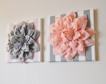 """TWO Wall Flowers -Gray Dahlia on Pink and White Stripe and Pink Dahlia on Gray and White Stripe- 12 x12"""" Canvas Wall Art-"""