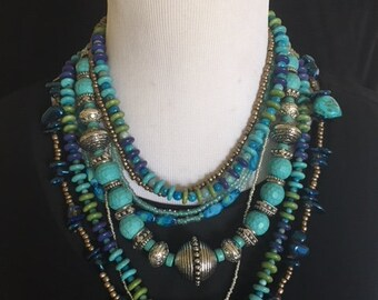 Tropical Tribal Turquoise Multi-strand necklace