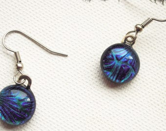 Blue glass earrings - Fused Glass Earrings - dangle Earrings -  Dichroic Jewelry- Fused Glass Jewelry - OOAK