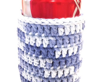 Faded Denim Crocheted Can Cover