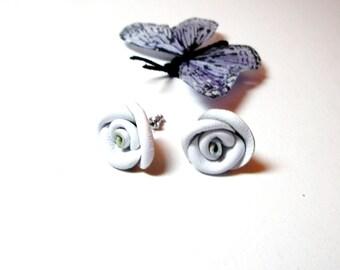 White  flower post Earrings -  Leather Rose Earrings