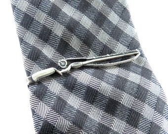 Fishing Rod Tie Bar With Fish Charm- Fishing Pole Tie Clip- Sterling Silver Finish, Gifts For Men