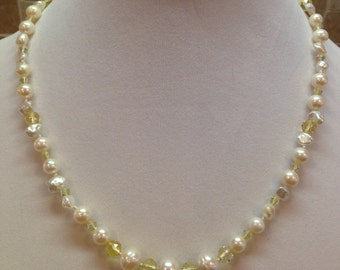 "Soft & Pretty Collection, 19.5"" assorted white freshwater pearls, 6mm Citrine gems, yellow Crystal necklace - FREE SHIPPING!"