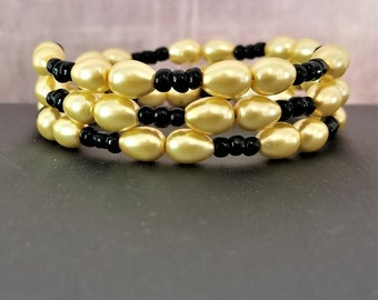 Black and Gold Bead Memory Wire Bracelet