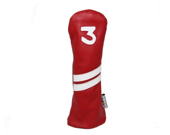 Red and White Leather Fairway Golf Headcover