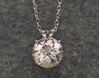 7 Carat White Sapphire Necklace, Birthstone Necklace