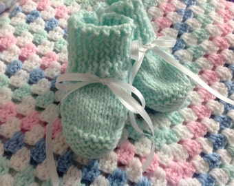 Crochet Granny Square Baby Blanket and Booties, Baby Afghan,  Nursery Decor, Baby Granny Square - Ready to Ship