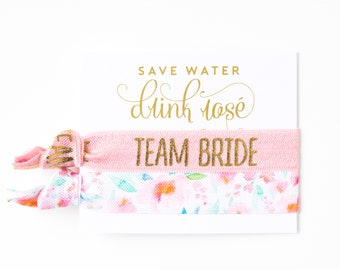 ROSÉ Team Bride Hair Tie Favor | Bachelorette Hair Tie Gift, Save Water Drink Rosé Pink, Light Pink Floral Blush Favors, Wine Tour Favor
