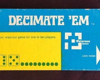 Vintage 1972 DECIMATE 'UM Dice Game buy Petterson Games