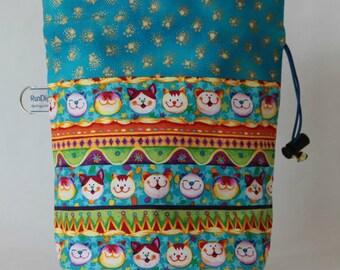 Small drawstring project bag cat stripes