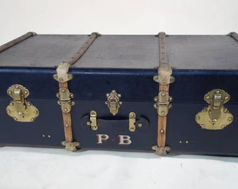 Black fitted cabin trunk R1790, canvas and brass
