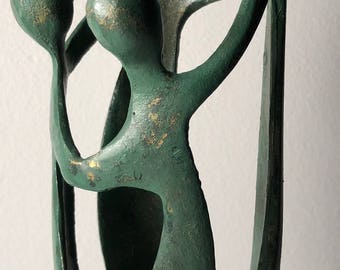 Vintage 60s Embracing Modernist Family Brass Sculpture Mid Century Modern Retro Sixties