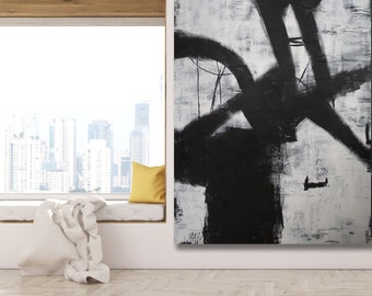 XL Black and White Abstract Painting / Abstract Art / Contemporary Art / Modern Art / Black and White Art / Extra Large Painting