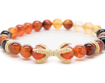 Red Brown Agate with Claw Beaded Mens Stretch Bracelet