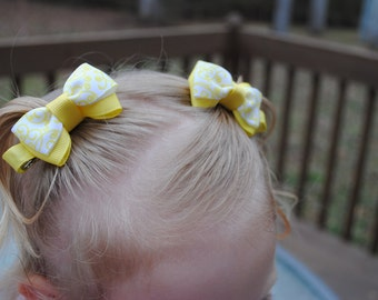 Yellow Baby Bows Baby Hair Ties Bow Clips No Slip Hair Clip for Girl Tiny Tuxedo Pair of Bright Toddler Hair Clip for Babies 2 Inch Hair Bow