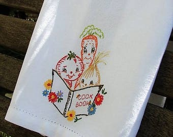 Retro Veggies Hand Embroidery Vegatable Cook Book Carrots Onion Tomato Tea Dish Hand Towel Foodie Cook Chef Gift Idea Vintage Trailer Decor