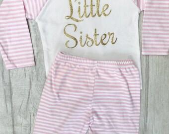 Baby Girl's Little Sister Pink & White stripe Pyjama Set Top/Pants, Newborn, Sleepwear, Sisters Princess, Pjs, Cosy, Family Love Gift Pesent