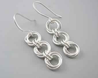 Sterling Silver Dangle Earrings, Nickel Free Earrings, 25th Anniversary Gift, Chain Earrings, Silver Anniversary Gift, Chain Jewelry