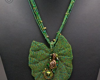 Bead Embroidered statement necklace pendant leaf snail