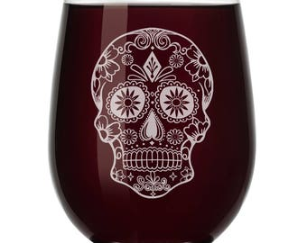 Sugar Candy Skull Wine Glass Stemless or Stemmed
