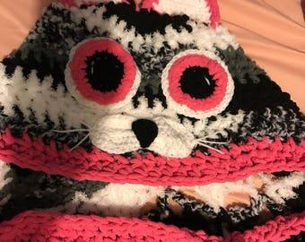 Crochet Hooded Cat Blanket