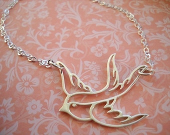 Winter Flight Soaring Sparrow Necklace in Sterling Silver