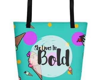 Bold Ice Cream Print Tote Bag Large