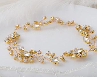 Gold Bridal Pearl Hair vine Comb CROCUS Wedding Hair Comb vine, Hair Chain Bridal hair jewellery Wedding Hair Vine,  Bridal Hairpiece Comb