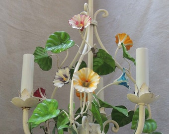 Vintage Floral Chandelier, Italian Tole Floral Chandelier, Floral Italian Chandelier, Floral Cottage Chandelier, Shabby Chic Chandelier