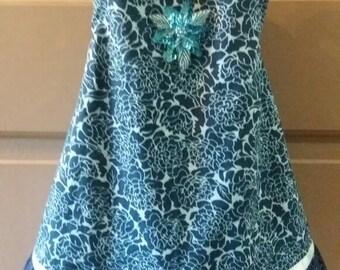 Girls Blue Floral Pinafore Wrap Dress 2t