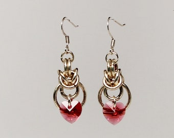 Swarovski crystal chain maille heart earrings (Indian Pink, silver plated)