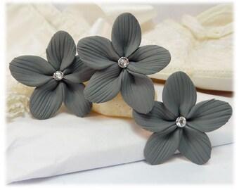 Gray Hair Flowers - Gray Flower Hair Pins, Charcoal Gray Wedding Hair Flowers, Gray Wedding Hair Accessories