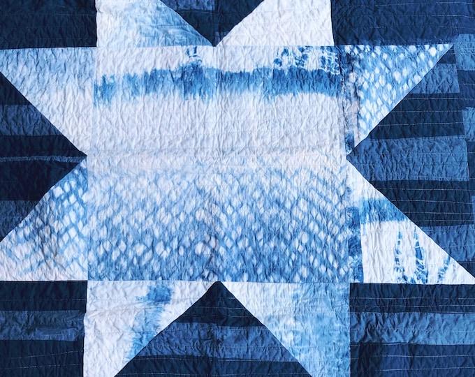 Handmade Modern Star Quilt - Handdyed Indigo and Yellow Shibori Throw Quilt