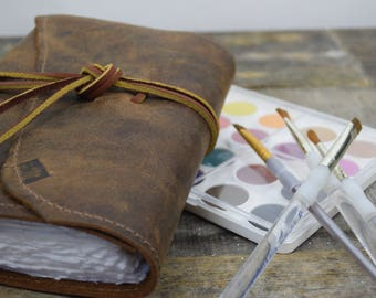 Rugged leather artist travel journal  - watercolor paper