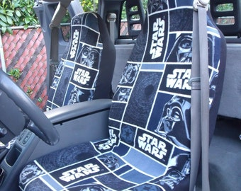 1 Set of Star Wars Darth Vader in Blocks Print Seat Covers and  steering wheel cover .