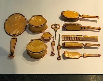 Vanity Set, Circa 1920s, Celluloid Dresser Set, Butterscotch
