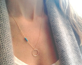 Gold Turquoise Necklace - Circle Necklace - 14k Gold Filled - December Birthstone - Layered Necklace - Dainty Necklace - Beaded Bar Necklace